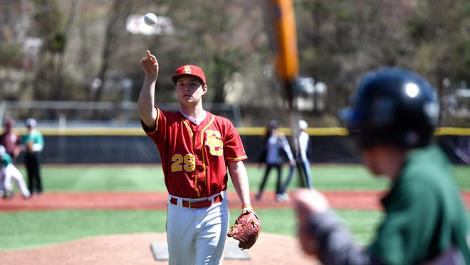 Bergen Catholic pitcher Michael Roll #29 lobs the ball to a Challenger batter during a game in Ramsey, NJ on Sunday, April 22, 2018. Bosco and Bergen Catholic high school players assisted Challenger District 6 players, many with mental and physical disabilities, in a game of baseball before hosting a charity game.