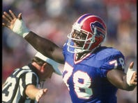 A 1990 file photo of defensive lineman Bruce Smith.