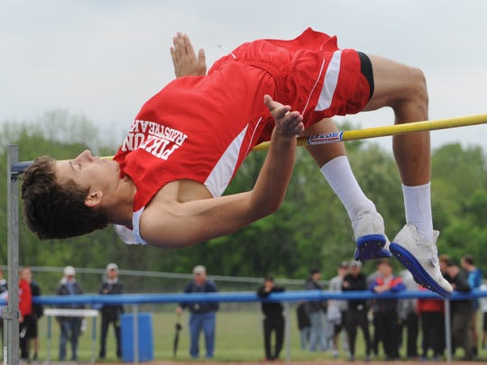 """Piketon's Timothy Trawick clears 6'7"""" to break the SVC track meet record Friday during day two of the SVC track and field meet."""