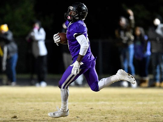Cane Ridge's Devon Starling (5) runs in a touchdown against Whitehaven during the second half of the Class 6A semifinal at Cane Ridge High School in Antioch, Tenn., Friday, Nov. 24, 2017.