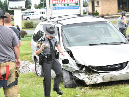 Three  passengers in a minivan were injured during a one-vehicle accident Monday,  June 19, 2017 at around 10 a.m. in the 2800 block of Philadelphia Av., Chambersburg. Two patients were airlifted following the crash. One patient was transported from the scene while another flown from the helipad at Chambersburg Hospital.