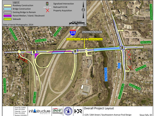 Construction on the I-229 interchange and the intersection of 26th Street and Southeastern will be split into two projects headed by the South Dakota Department of Transportation and the City of Sioux Falls.