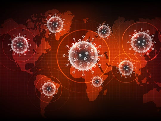A digital map of the world with coronavirus icons.
