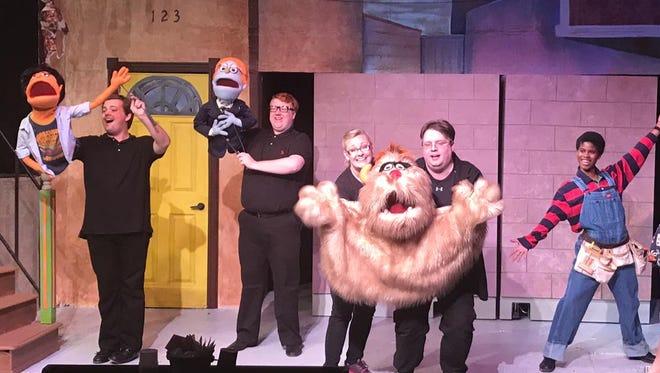 "Backdoor Theatre brings ""Avenue Q"" to the stage. Performing are (from left) Luke Draper, Corey Rauscher, Kim Gordon, John Cartwright, Kat Johnson and Carl Alfert."