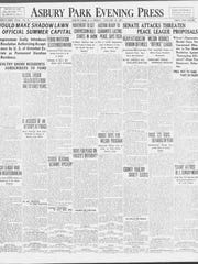 The front page of the Asbury Park Press on Jan. 26, 1917, when the newspaper reported on congressional legislation to make Shadow Lawn the nation's first official presidential retreat.