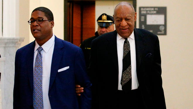 Bill Cosby arrives with his publicist Andrew Wyatt arriving for pretrial hearing at the Montgomery County Courthouse in Norristown, Pa., March 6, 2018.