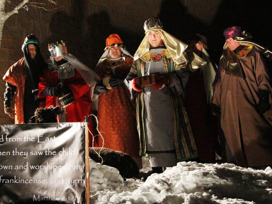 The Living Nativity includes the Wise Men who traveled far.