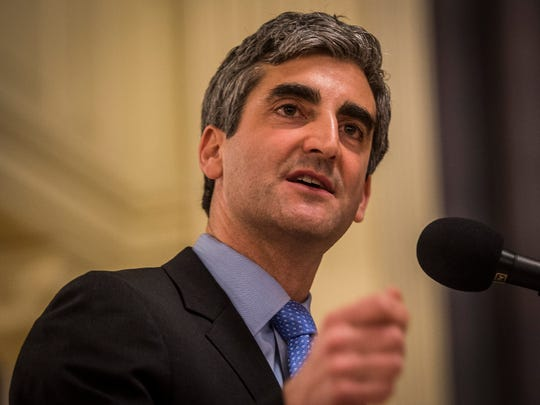 Mayor Miro Weinberger gives his State of the City address at Burlington City Hall Monday night, April 3, 2017.