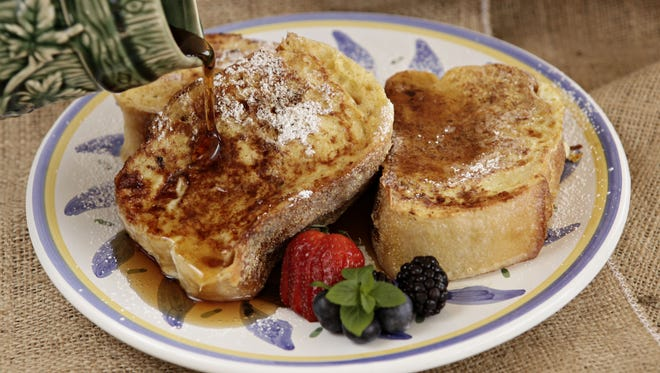 Ricotta cheese and bacon stuffed French Toast with maple syrup, made by Linda Hopkins, as seen on April 24, in Phoenix.