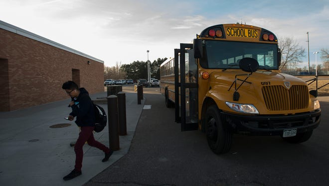 Poudre High School freshman Juan Modrigal is dropped off at school on Friday, March 9, 2018, at Poudre High School in Fort Collins, Colo.