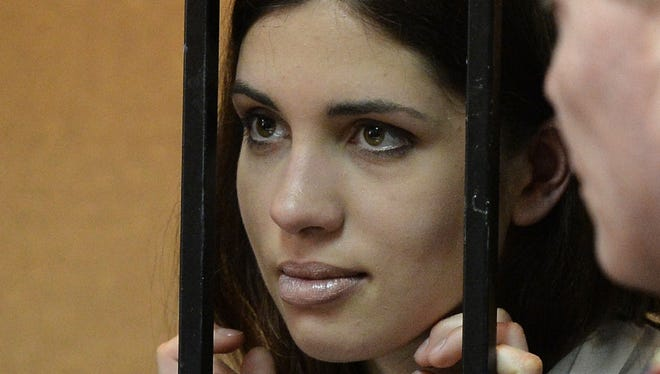 A picture taken on April 26 shows one of the jailed members of the all-girl punk band Pussy Riot, Nadezhda Tolokonnikov.