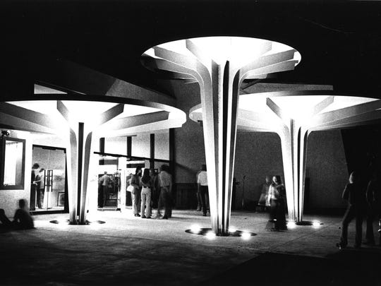 The plaza outside Camelview 5 as seen in 1973.