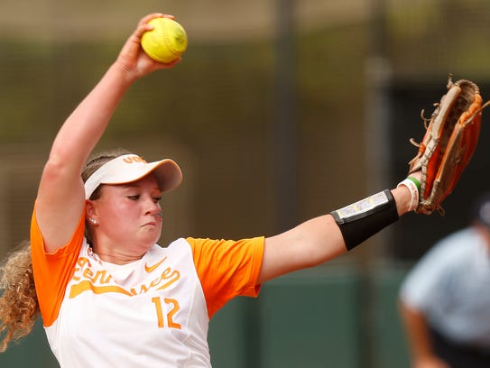 Tennessee's Caylan Arnold throws the ball during an NCAA softball Super Regional game between Georgia and Tennessee in Athens, Ga., Friday, May 25, 2018. The Lady Vols lost consecutive games Friday and Saturday and have been eliminated from the NCAA Super Regional.  [Joshua L. Jones/Special to the Knoxville News Sentinel via Athens Banner-Herald]
