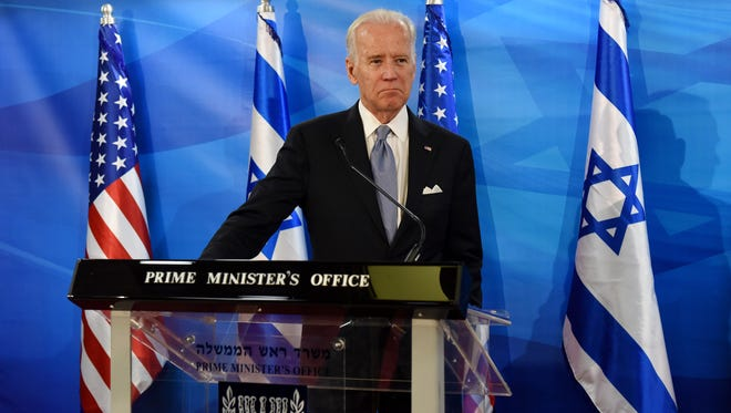 Vice President Joe Biden spoke to reporters in Jerusalem on March 9. 2016 and condemned Palestinian leaders who fail to condemn violent  attacks, such as the fatal stabbing of an American student.