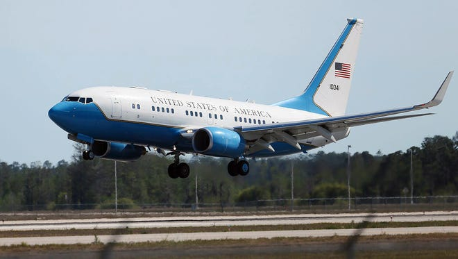 Vice President Mike Pence, aboard Air Force Two, lands at 4:27 p.m. April 8, 2017, at Southwest Florida International Airport in Fort Myers on his way to visit Sanibel Island, Fla.