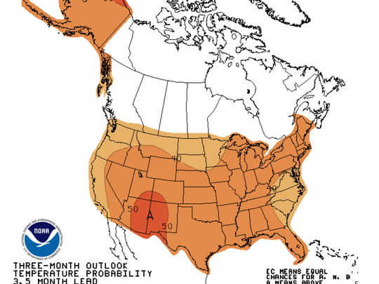 The National Oceanic and Atmospheric Administration long-range forecast for November through January calls for above-average temperatures in the Northeast.