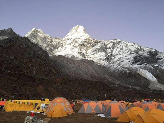 The group prepared for their ascent from base camp at Mt. Ama Dablam.