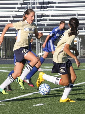 Elmira Notre Dame's Camille Vandermeer (16) moves forward with the ball alongside teammate Laurel Vargas during a game against Candor on Wednesday at Brewer Memorial Stadium. Notre Dame won, 8-0.