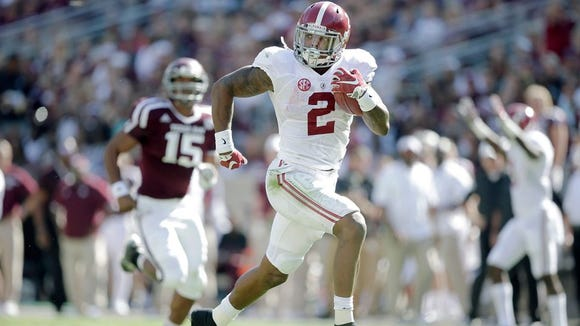 Derrick Henry rushed for 2,219 yards and 28 touchdowns in winning the Heisman Trophy, but isn't projected to go in the first round of NFL Draft beginning Thursday in Chicago.