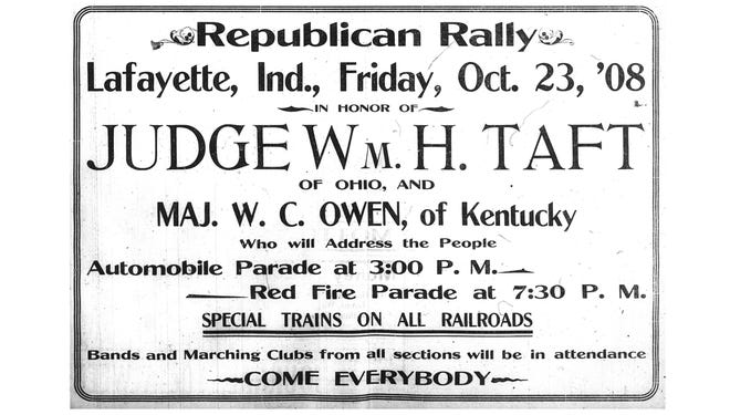 A half-page ad announcing the upcoming arrival of Republican Presidential nominee Howard Taft in the Oct. 22, 1908 print edition of the Lafayette Morning Journal.