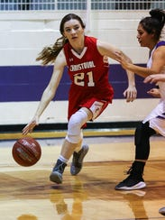 Christoval's Kensey Wells dribbles past Irion County