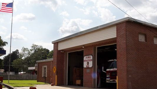 An American flag flies over Hattiesburg Fire Station 5 Thursday. Hattiesburg Mayor Johnny DuPree ordered the removal of all Mississippi flags from city-owned properties to honor the nine lives lost in the church shooting in Charleston, S.C.