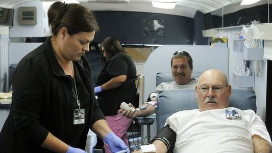 In this archive photo, donors give blood at the Tulare Memorial Blood Drive.