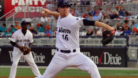Daniel Wright delivers for the Pensacola Blue Wahoos against the Mobile BayBears in Pensacola.