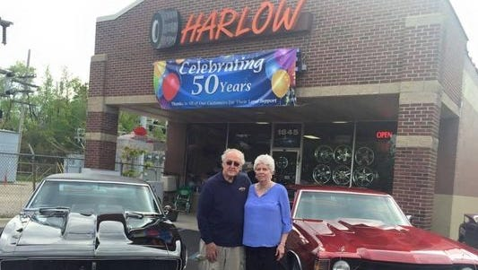 Jim and Margaret Harlow pictured last year as Harlow Tire celebrated 50 years in business.