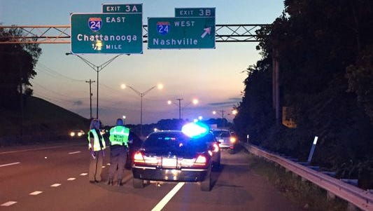 Police respond to a report that a child was grazed by a bullet on Briley Parkway.