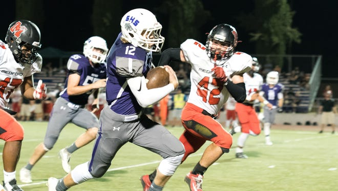 Shasta's Seth Park shown in a game against North Medford in 2016.