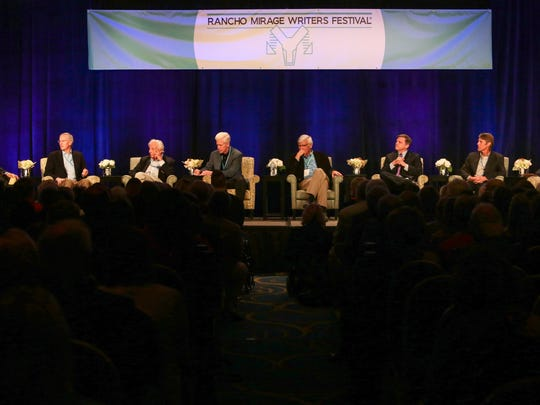"(From left) Van Gordon Sauter moderates a panel discussion, ""The Next Four Years,"" that includes Evan Thomas, Richard Reeves, the Hon. Gray Davis, Geoff Cowan, Douglas Brinkley, H.W. Brands and the Hon. Barbara Boxer during the Rancho Mirage Writers Festival  on  January 28, 2017."