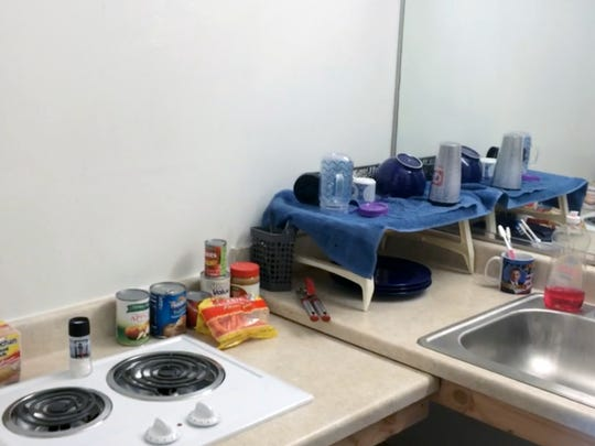 Renovations provided Army veteran Sonya Moule with a stovetop and sink for the kitchen in her apartment.