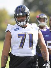 Sep 22, 2017; London, England, United Kingdom; Baltimore Ravens offensive guard Jermaine Eluemunor (71) during practice at the Hazelwood. Mandatory Credit: Kirby Lee-USA TODAY Sports