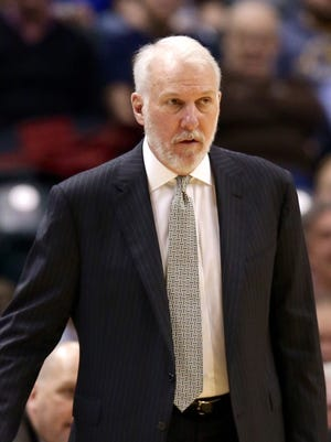 Gregg Popovich, coach of the San Antonio Spurs, on the sideline Monday night, Feb. 9, 2015, against the Indiana Pacers.