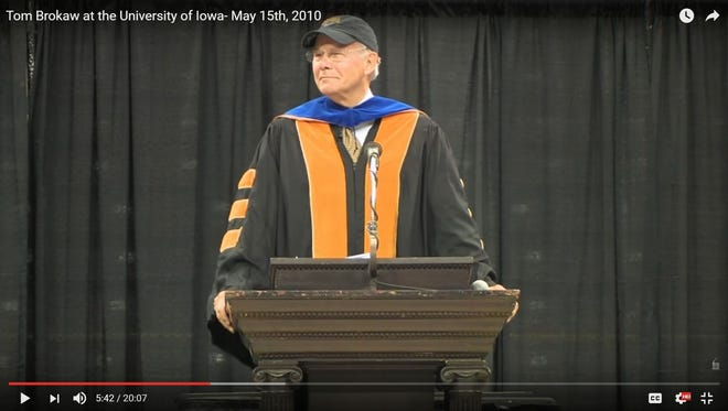 """This screenshot shows former """"NBC Nightly News"""" anchor Tom Brokaw delivering the 2010 commencement address at the University of Iowa. Brokaw recently donated his papers and memorabilia to UI Libraries."""