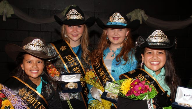 The 2017 Southwestern New Mexico State Fair Royalty Cort is, from left, Pee Wee Princess Madison Brooke Grimley; Queen, Makayla Robinson; Princess, Calleigh Sweetser and Junior Princess, Aubrey Almanza.