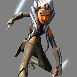 "Ahsoka Tano greets the droid Chopper on the season finale of ""Star Wars Rebels."""