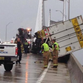 Semi truck hangs off the Dames Point Bridge.