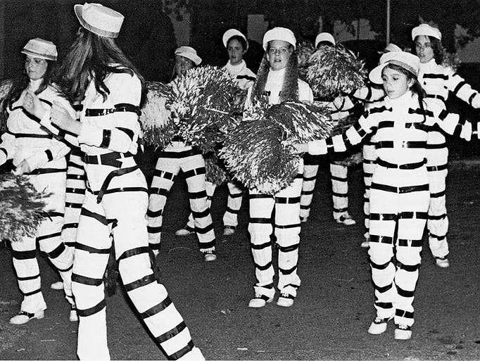 Historical photo of the Millburn FD Halloween parade,