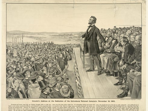This 1905 artist's rendering from the Sherwood Lithograph Co. depicts President Abraham Lincoln speaking at the dedication of the Gettysburg National Cemetery on Nov. 19, 1863.