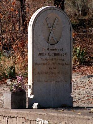 "John ""Snowshoe"" Thomson's grave in the Genoa cemetery"