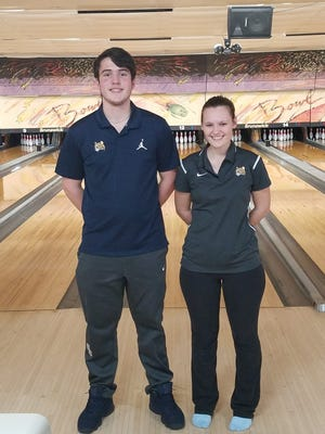From left, Schoolcraft College bowlers Michael Pizzuti (Westland John Glenn) and Kayla Jackson both were high-series scorers for the tournament.