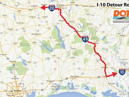 Map of detour for those traveling from Alabama or Mississippi into Texas. I-10 was closed Tuesday due to flooding.