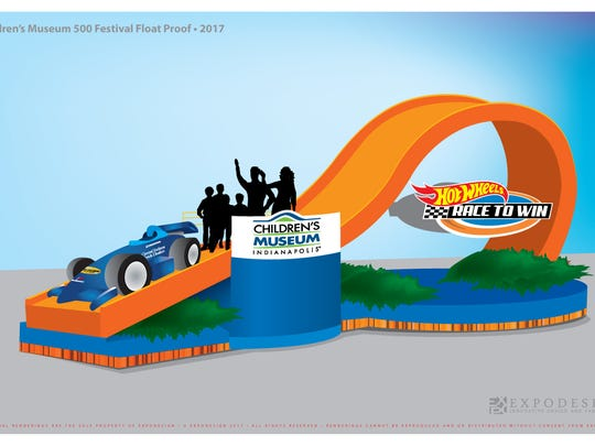 """The Children's Museum of Indianapolis' float entry in the 2017 IPL 500 Festival Parade, """"Hot Wheels: Race to Win."""""""