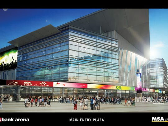 A rendering of the main entry plaza of a rebuilt U.S. Bank Arena.