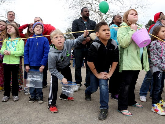 Youngsters awaited the falling marshmallows at Nankin Mills Park in Westland during the 2014 marshmallow drop.
