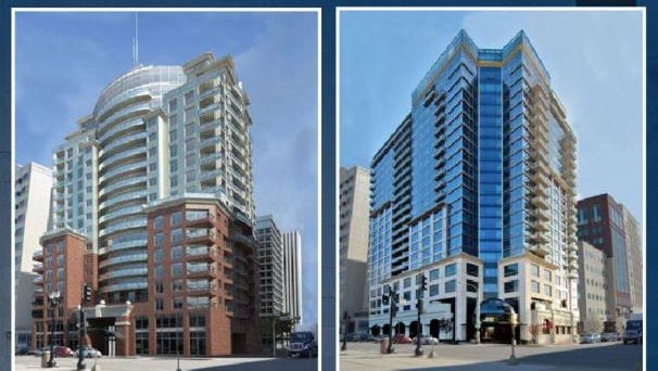 """These are renderings of """"possible concepts"""" for a redevelopment of Lansing City Hall. These are found on the ninth page of a 41-page document the city created to woo developers who have proposals for the building."""