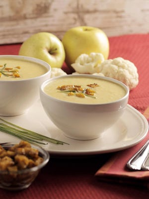 Curried cream of cauliflower and apple soup. Curry and apples are the perfect flavor pairing.