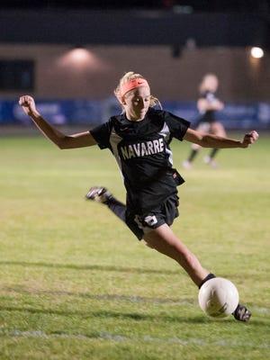 Jennifer Seward (8) during the Navarre vs Gulf Breeze soccer game at Gulf Breeze High School on Thursday, December 15, 2016.